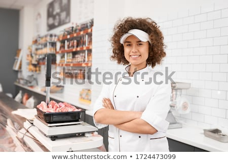 vrouwelijke · slager · achtergrond · werknemer · witte · persoon - stockfoto © photography33