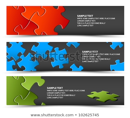 Set of dark puzzle horizontal banners Stock photo © orson