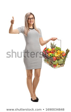 blonde woman showing a fruits basket Stock photo © photography33
