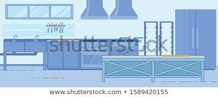 Stainless steel kitchen knife vector illustration Stock photo © leonido