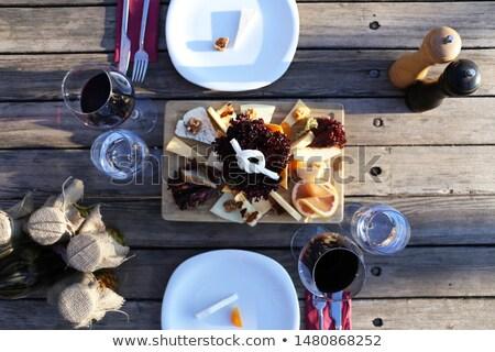 Бокалы древесины ног свет деревянный стол Сток-фото © crisp