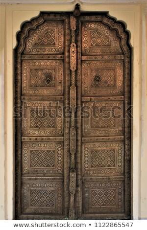古い木材 真鍮 ドア インド 木材 ストックフォト © calvste