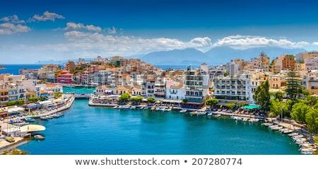 Panorama cidade navio de cruzeiro ilha Grécia casa Foto stock © franky242