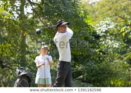 бизнесмен гольф железной изолированный белый Сток-фото © posterize