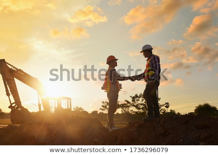 Сток-фото: строительство · работу · менеджера · Hat · белый · студию