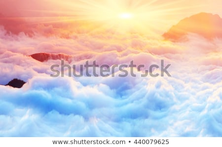 Stock photo: Sunset sky over haze sea of clouds