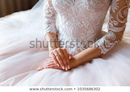 Francia manikűr gyűrű gyönyörű körmök nő divat Stock fotó © grafvision