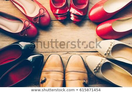 Sok cipők egy cipő kéz nő Stock fotó © a2bb5s