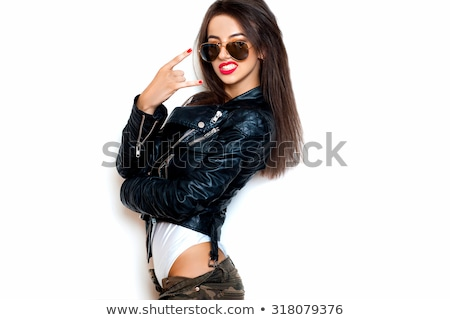 Aviator girl with black leather jacket Stock photo © Fernando_Cortes