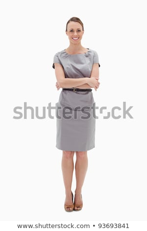 Gülümseyen kadın silah katlanmış beyaz eller arka plan Stok fotoğraf © wavebreak_media