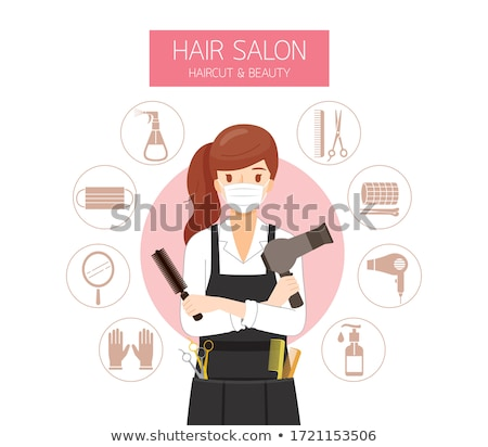 Woman in rollers with hairdressing scissors Stock photo © photography33