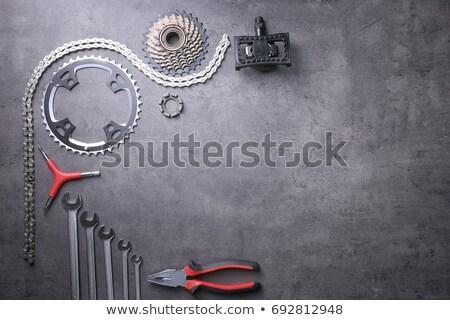 bicikli · fogaskerekek · elöl · hátsó · tipikus · acél - stock fotó © ozaiachin