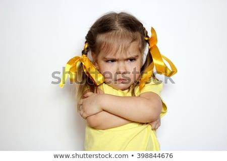 zangado · criança · braço · isolado · branco · cara - foto stock © deyangeorgiev