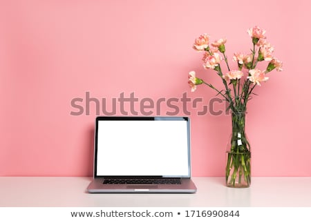 Stockfoto: Laptop With Carnations Bouquet