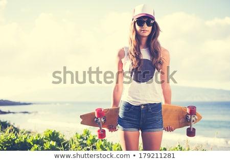 gyönyörű · szexi · nő · piros · ajkak · bikini · fekete · stúdió - stock fotó © lunamarina