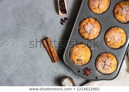 muffinok · alma · fahéj · piros · alma · nyitott · könyv · papír - stock fotó © elmiko