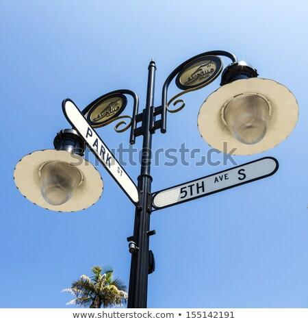 histórico · placa · de · rua · Nápoles · Flórida · blue · sky · céu - foto stock © meinzahn