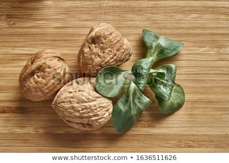 houten · kom · houten · tafel · vruchten · retro · shell - stockfoto © raphotos