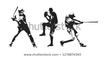 homme · bat · silhouettes · hommes · baseball · noir - photo stock © leonido