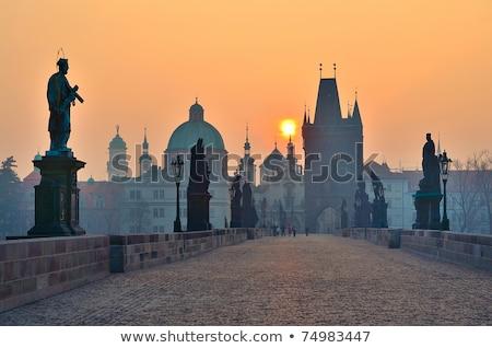 Sunrise over the Vltava river in Prague Stock photo © CaptureLight