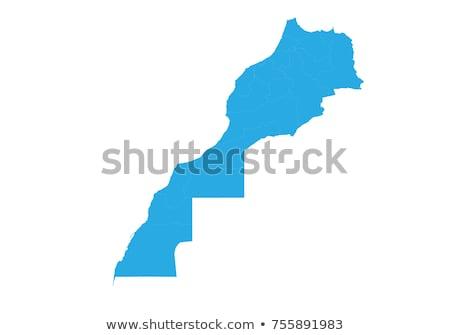 Sziluett térkép Marokkó felirat fehér felirat Stock fotó © mayboro