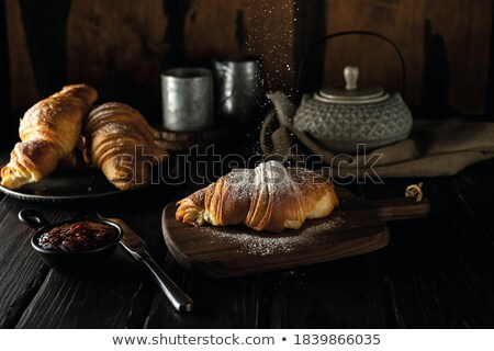 Stockfoto: Croissants · frambozen · eigengemaakt · gevuld · zoete