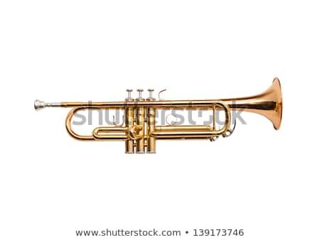 Gouden trompet geïsoleerd sleutel kleur jazz Stockfoto © ozaiachin