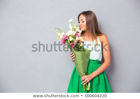 mooie · vrouw · bloemen · schoonheid · mensen · vakantie - stockfoto © deandrobot