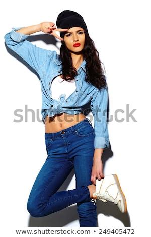 hermosa · rock · mujer · pelo · maquillaje - foto stock © neonshot