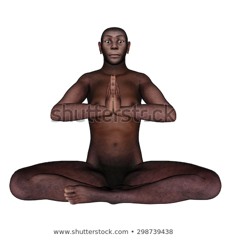 Female homo erectus sitting in meditation - 3D render Stock photo © Elenarts