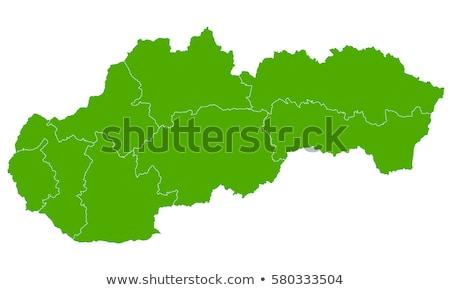Térkép Szlovákia kék keret vektor izolált Stock fotó © rbiedermann