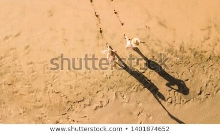 ストックフォト: 足跡 · 砂浜 · 海 · 背景 · 海