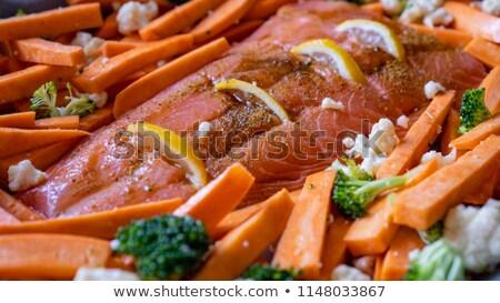 Lazac filé krumpli karfiol felszolgált étel Stock fotó © Digifoodstock