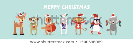 christmas card with cute reindeer and monkey stock photo © mcherevan