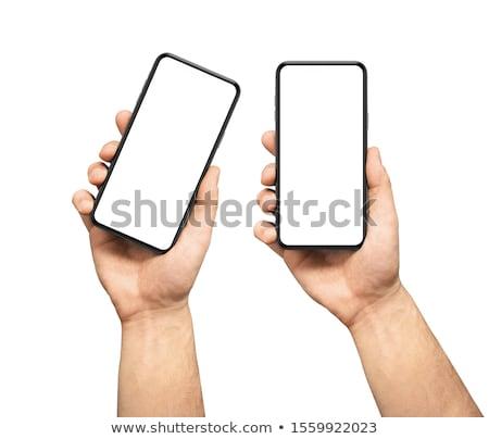 Foto stock: Dos · personas · manos · teléfonos · móviles · primer · plano · pantalla