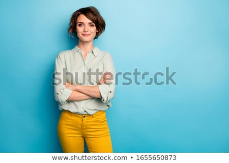 Happy business woman with short hairstyle. Stock photo © Kurhan