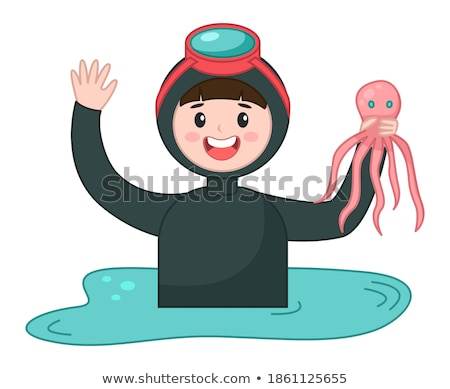 Young man drawing a fish in a tank  Stock photo © wavebreak_media