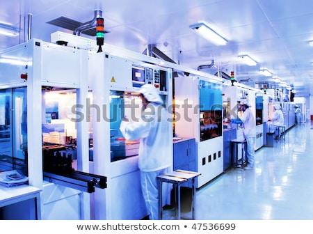 werken · verlichting · licht · Blauw · persoon · dak - stockfoto © zurijeta