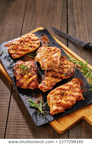 nyers · disznóhús · fa · tábla · kész · főzés - stock fotó © digifoodstock