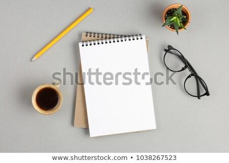 Zwarte koffie werken desktop top shot Stockfoto © tab62