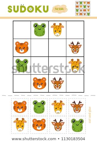 Kids sudoku puzzle with cartoon animal heads Stock photo © adrian_n