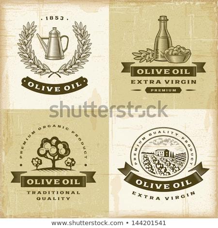 Stock photo: Olive oil vintage cruet background