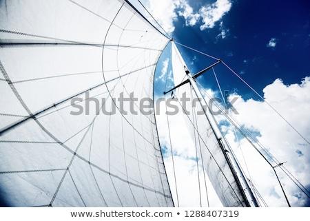 Sailboat mast and ropes in harbor against blue sky Stock photo © stevanovicigor