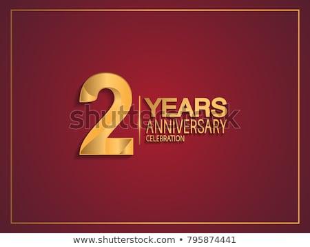 Segundo aniversario celebración placa etiqueta dorado Foto stock © SArts