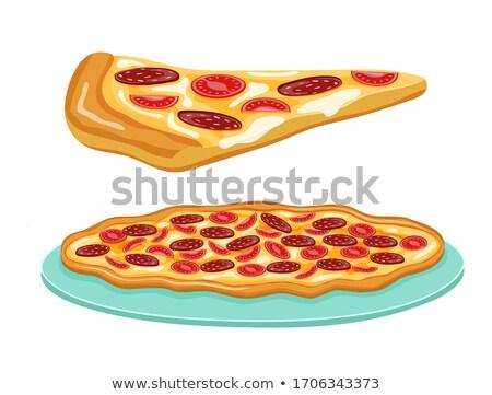 全体 ペパロニ ピザ 孤立した 白 ストックフォト © kayros