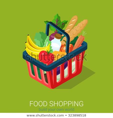 Isometrische winkelwagen vol supermarkt lokaal Stockfoto © Genestro