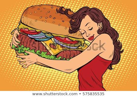 cheeseburger · cipolle · formaggio · pop · art · retro · business - foto d'archivio © studiostoks