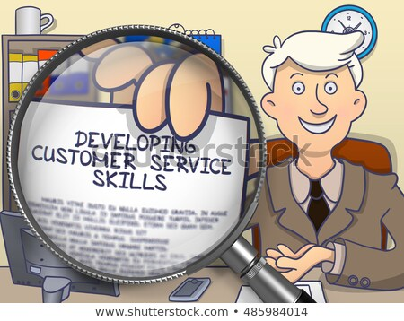 Fejlődő ügyfélszolgálat képességek nagyító tart papír Stock fotó © tashatuvango