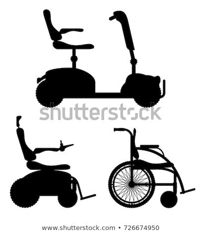 Cadeira de rodas inválido pessoas preto silhueta Foto stock © konturvid