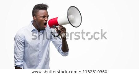 Fiatal dühös férfi sikít mutat ujj Stock fotó © RAStudio